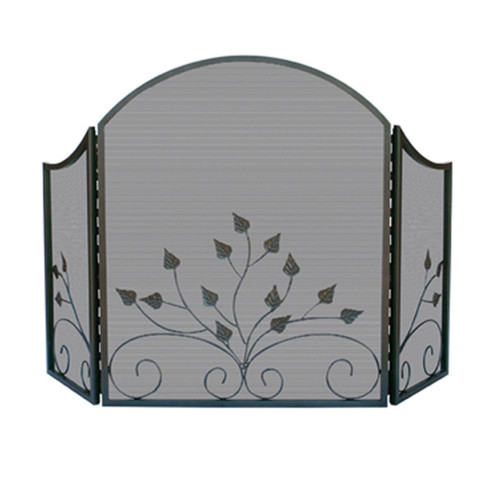 3 Fold Graphite Finish Fireplace Screen with Leaf design