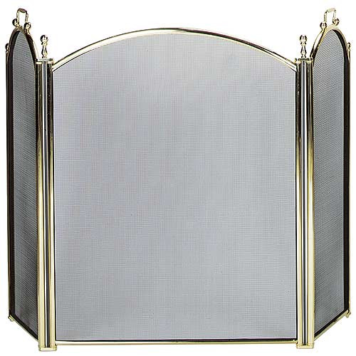 3 Fold Large Diameter Fireplace Screen - Polished Brass