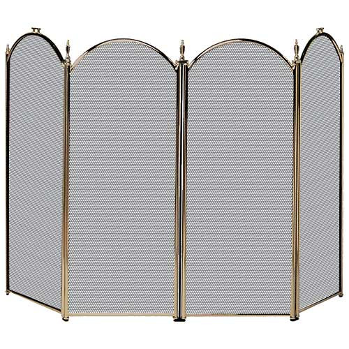 4 Fold Fireplace Screen- Antique Brass