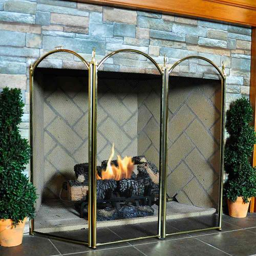 4 Fold Fireplace Screen- Polished Brass