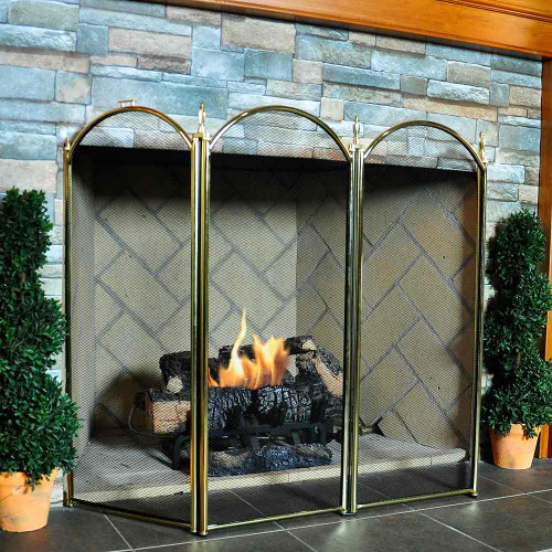 4 Fold Fireplace Screen- Polished Brass