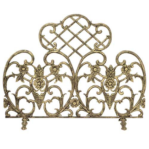 Single Panel Cast Aluminum Fireplace Screen - Antique Gold