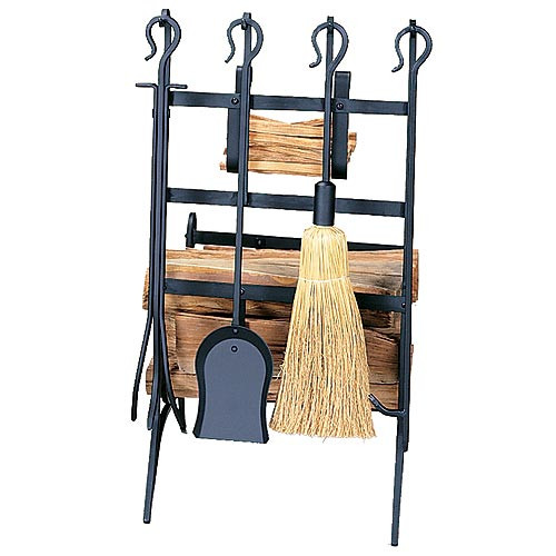 Log & Kindling Rack with Tools - Black