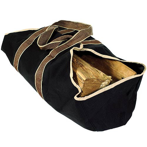 WoodEze Heavy Duty Canvas Firewood Tote - Black