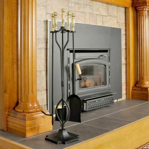 5 Piece Black and Brass Fireplace Tool Set