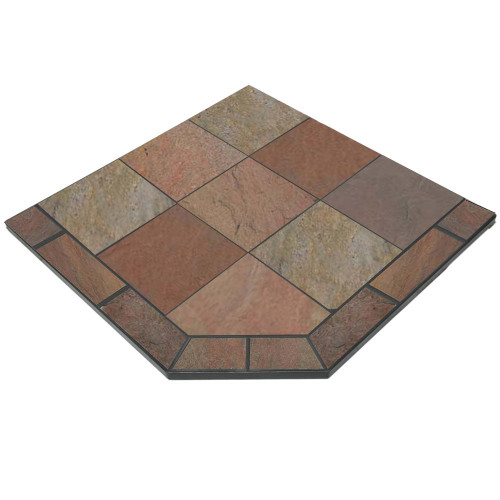 Natural Bone Slate 40'' x 40'' Single Cut Corner Hearth Pad