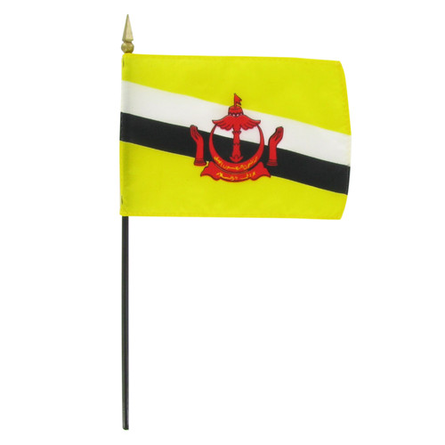 "Brunei 4"" x 6"" Stick Flag"