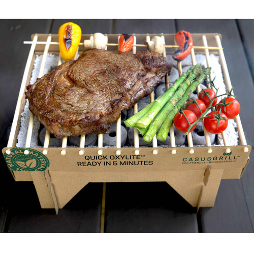 Biodegradable Disposable Grill cooking steak and vetables