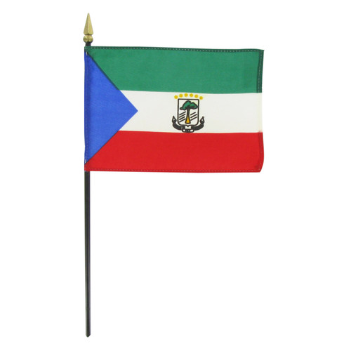 "Equatorial Guinea 4"" x 6"" Stick Flag"