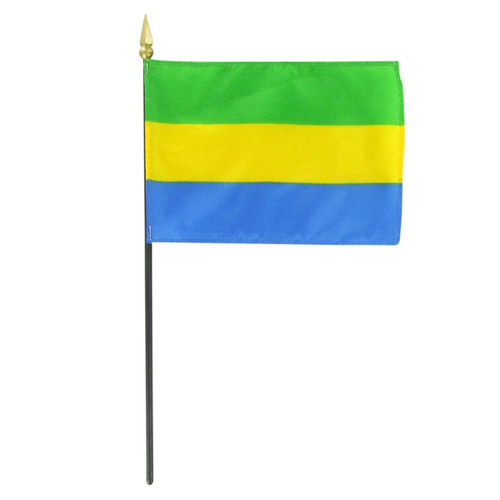 "Gabon 4"" x 6"" Stick Flag"