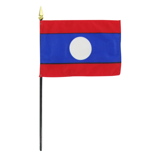 "Laos 4"" x 6"" Stick Flag"