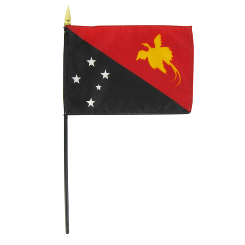 "Papua New Guinea 4"" x 6"" Stick Flag"