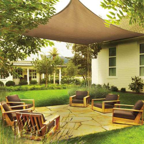 Shelter Logic 16 x 16 Foot Square Sun Shade Sail - Sand