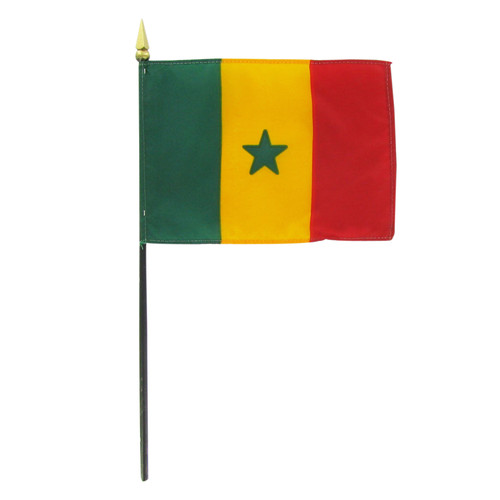 "Senegal 4"" x 6"" Stick Flag"