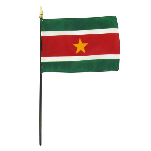 "Suriname 4"" x 6"" Stick Flag"