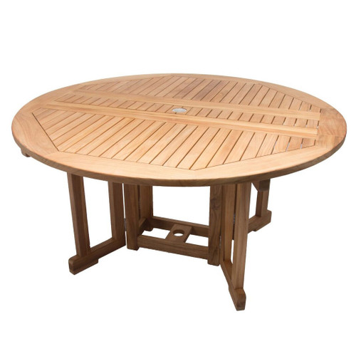 5' Teak Round Drop-Leaf Table