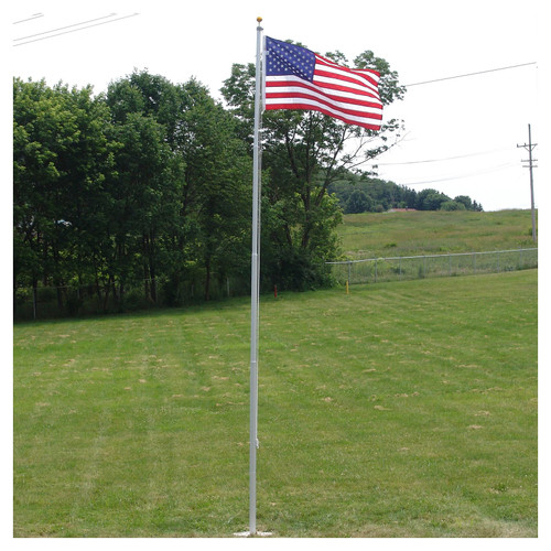 Super Tough Heavy Duty 20ft Residential flagpole with US made nylon flag