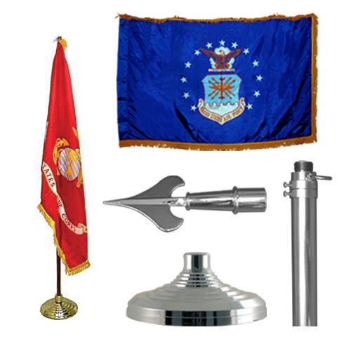 Silver Air Force Indoor Flagpole Kit - 8ft Pole - Army Spear