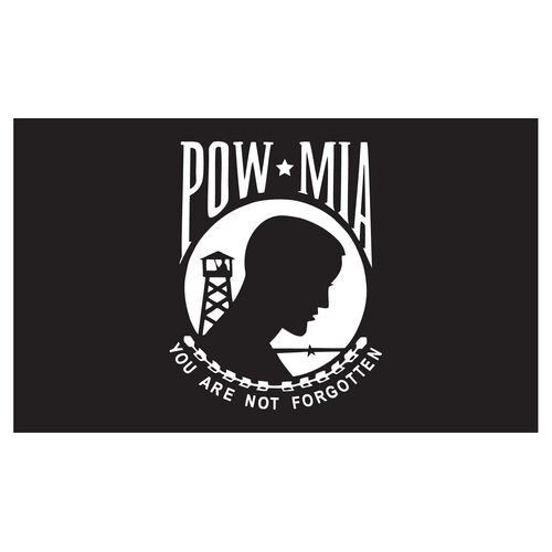 POW MIA Flag 3ft x 5ft Heavy Duty Spun Polyester - Single Sided