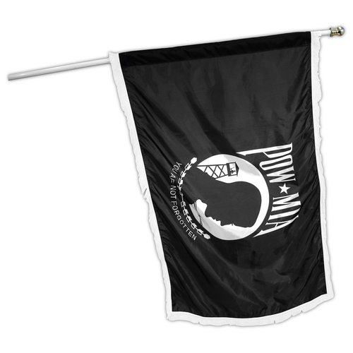 Indoor POW MIA Flag 3ft x 5ft Nylon - Single Sided - White Fringe