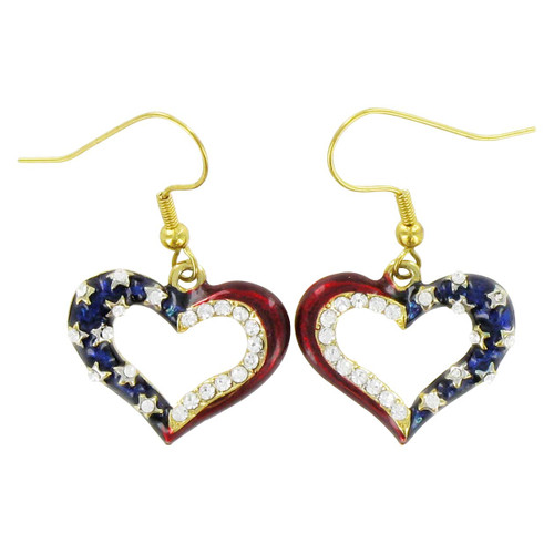 Patriotic Heart Outline Earrings