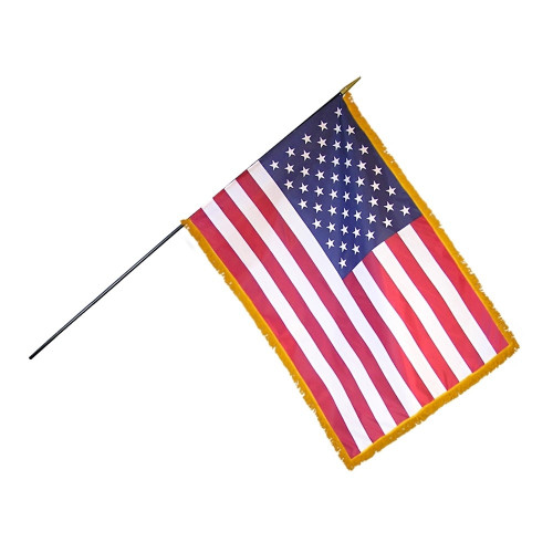 12in x 18in US Mounted Fringed Stick Flag