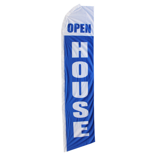 Open House Swooper Flag - White & Blue