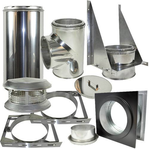Thru the wall kit includes a wall thimble, 2 adjustable wall brackets, deluxe chimney cap, tee support, tee with cap, and adjustable chimney pipe 8 Inch x 11 - 20 Inches