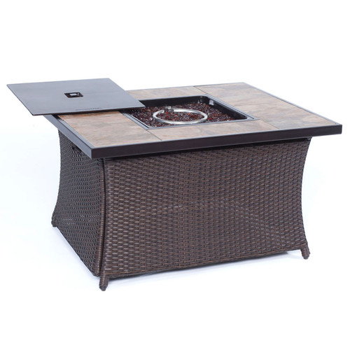 Woven 40,000 BTU Fire Pit Coffee Table with Porcelain Tile Top