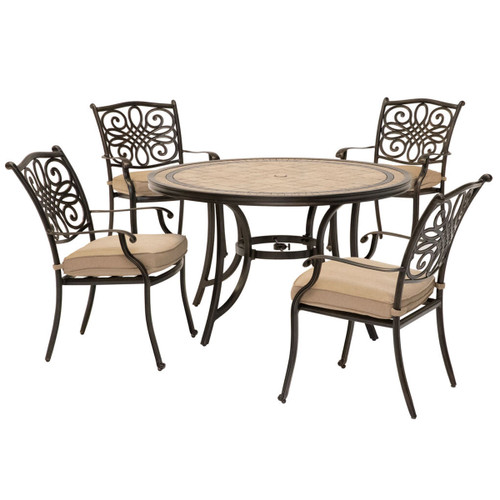 Monaco 5-Piece Patio Dining Set in Tan with 4 Cushioned Dining Chairs and a 51-In. Tile-Top Table