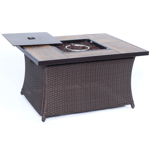 Woven 40,000 BTU Fire Pit Coffee Table with Woodgrain Tile-Top