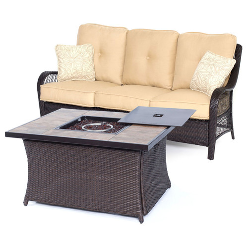 Orleans 2-Piece Woven Fire Pit Set in Sahara Sand