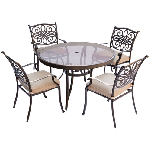 Traditions 5-Piece Dining Set in Tan with 48 In. Glass-top Table