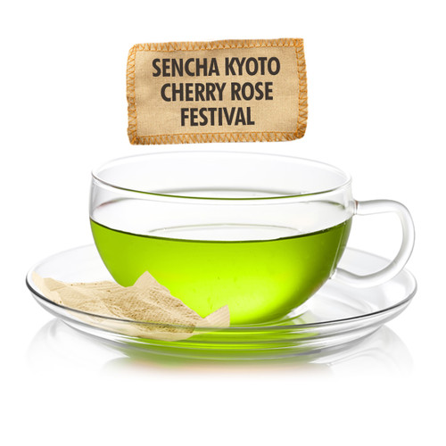 Sencha Kyoto Cherry Rose Festival Green Tea - Sampler Size - 5 Tea Bags