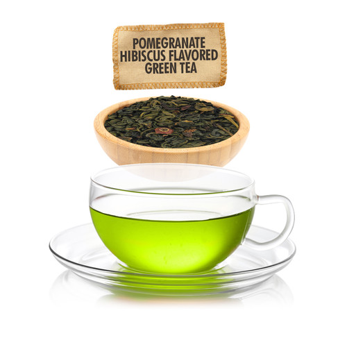 Pomegranate Hibiscus Green Tea  - Loose Leaf - Sampler Size - 1oz