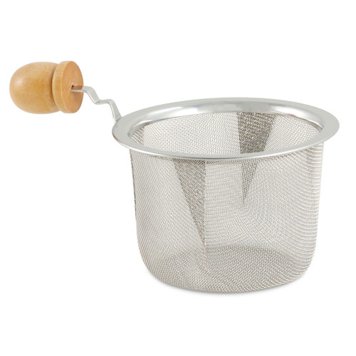 Stainless Steel Mesh Strainer with Wooden Handle - 3in Diameter