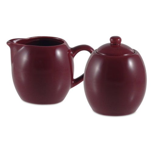 Amsterdam Cream & Sugar Set - Burgundy