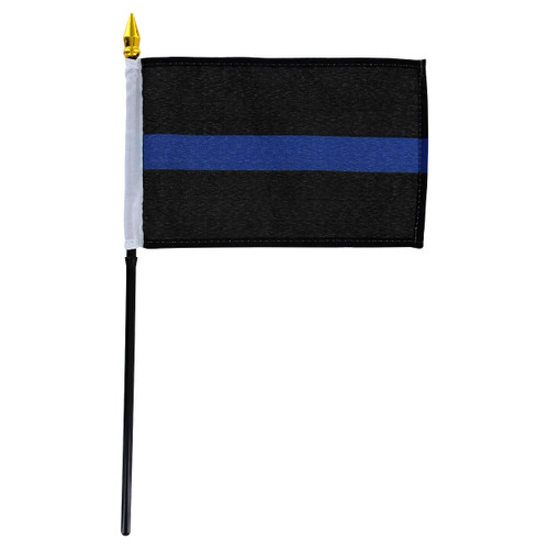 Thin Blue Line Flag 4x6in Stick Flag