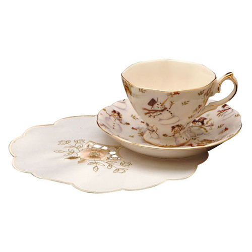 Snowman Porcelain Teacup and Saucer  - Set of 4