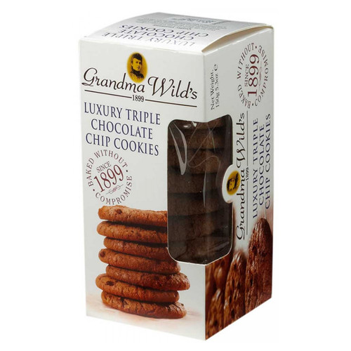 Grandma Wild's Biscuit Carton, Luxury Triple Chocolate Chip Cookies