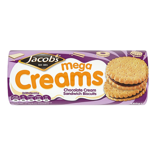 Jacob's Mega Creams - Chocolate Cream Sandwich Biscuits