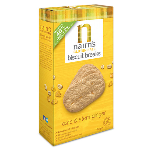 Nairn's Gluten Free Biscuit Breaks - Oats & Stem Ginger- 5.64oz (160g)