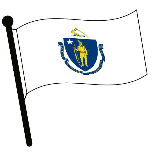 Massachusetts Waving Flag Clip Art - Downloadable Image