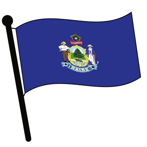 Maine Waving Flag Clip Art - Downloadable Image