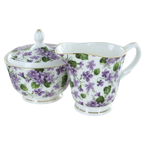 Gracie's Violets Bone China - Sugar and Creamer Set