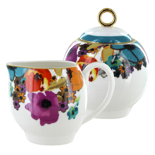 Multicolor Poppy Sugar and Creamer Set