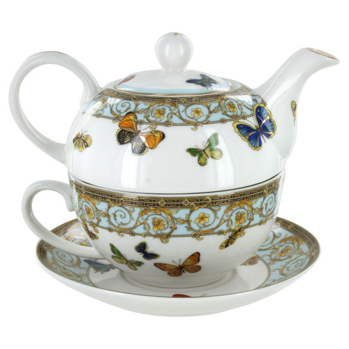 Blue Butterfly 4 Pieces Tea For One Set