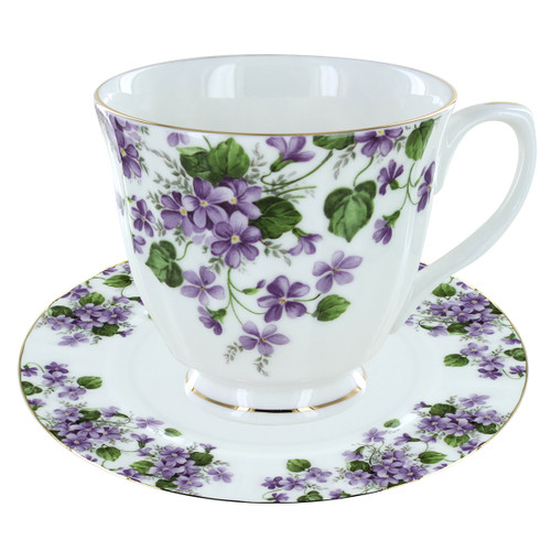 Gracie's Violets Bone China - Tea Cup and Saucer Set of 4