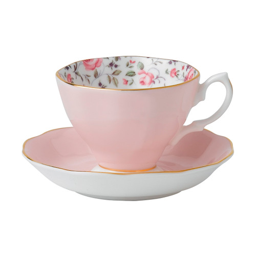 Royal Albert Rose Confetti Fine Bone China - Tea Cup & Saucer