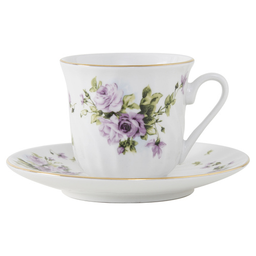 Lucinda Porcelain Teacup and Saucer - Set of 6